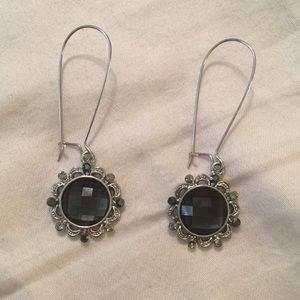 Lane Bryant Pierced Earrings Silver Black Dangle
